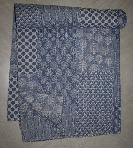 New Indian Vintage Baumwolle Patchwork Tagesdecke Überwurf Queen Size Kantha Quilt gaudri Tagesdecke Bettdecke, baumwolle, Grey Patchwork, 90 X 108 Inches (Quilt Patch Decke Werfen)