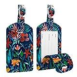 [2 Pezzi] Etichette per Bagagli, Fintie Viaggio bagagli Tag in Pelle con Copertina Posteriore per la Borsa da Viaggio, Jungle Night