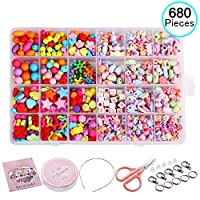 Beautyshow 680 Pcs DIY Beads Set, Craft Beads Kids Colorful Diy Beads Toy Acrylic Handmade Beaded for DIY Necklaces Bracelet Children Games (Colorful cartoon)