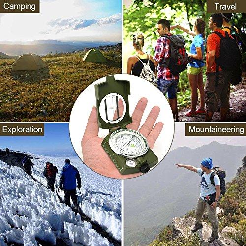 Militär Marschkompass Professioneller Taschenkompass Peilkompass Kompass mit Klinometer Tragschlaufe, Tasche - 5