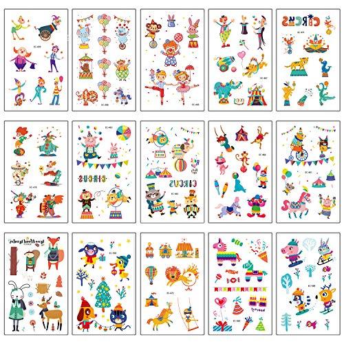 val Temporäre Tattoos Set, Kindertattoos Clown Aufkleber für Jungen Mädchen Kindergeburtstag Mitgebsel Gastgeschenke, 100+ Clown Tier Tattoos Kinder ()