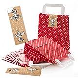 10 kleine rot weiß gepunktet Papiertüten Weihnachtstüte weihnachtlich Geschenktüte 18 x 8 x 22 cm + 10 ENGEL Weihnachtsaufkleber CHRISTKIND NATUR weiß beige Verpackung Weihnachten give-away