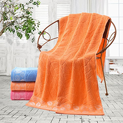 junchen 1 morceaux 70 * 140 cm Motif feuilles coton doux serviette de bain pour adulte Cheveux Main Serviettes B