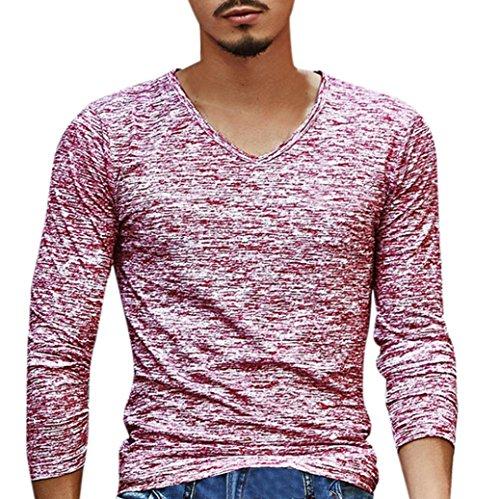 Slim Fit Herren Hemd Model ,Sannysis Herren Solide V-Ausschnitt Langarm T-Shirt Top Slim Fit Bluse (L3, Rot) (Solide Knöpfe V-ausschnitt)