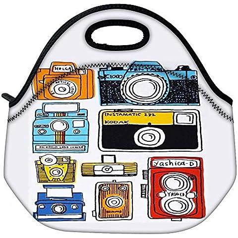 Picnic Viajes Snoogg Multi Cámara de dibujos animados al aire libre bolsa de asas Lleve Lunch Box Container Zip Sale extraíble Carry Handle Bag Lunchbox Tote Bag Lunch Comida Para Oficina de Trabajo de la Escuela