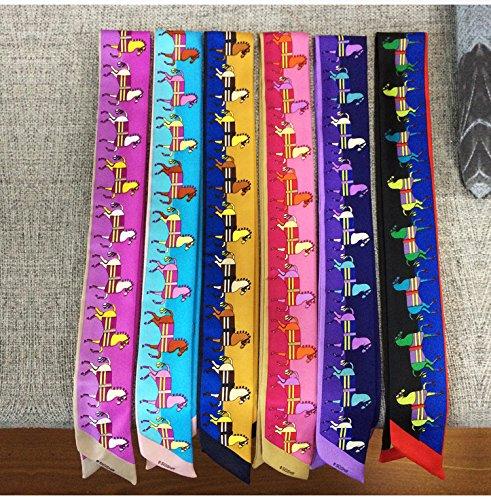 Bigood Echarpe Poignée Sac Imitation Soie Décor Ruban Cheval Animaul Elégant Multicolore 7