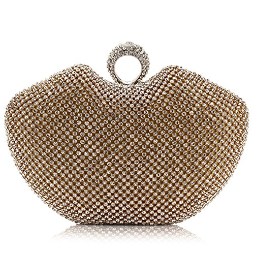 ERGEOB® Donna Clutch Clutch cristallo sacchetto di sera per Party Festa matrimonio Blingbling stile oro