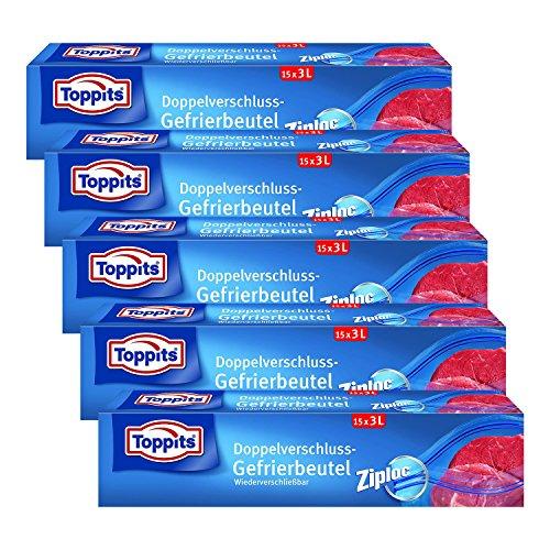 Toppits Double fermoir Sacs 3L (27 x 24 cm), Lot de 5 (5 x 15 sachets)