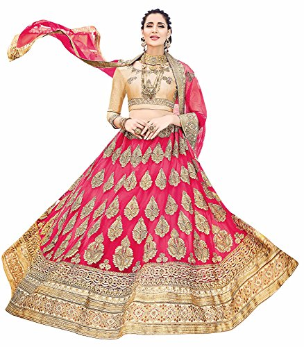 Aasvaa Outstanding Women's Embroidered Net Lehenga Choli With Un-Stitched Blouse (STNSYA8401_Pink_Free Size)