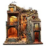 Holyart Borgo con capanna illuminato 110x80x58 cm presepe napoletano