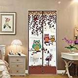 lulalula Owl Magnetic Screen Door with Heavy Duty Mesh Curtain and Full Frame Velcro Polyester Yarn Mesh Curtain Keep Bugs Mosquitoes Out - Fits Door Size up to 100 x 210cm Max - Rural Style