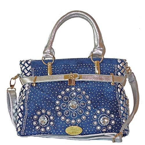 Utrendo Handtasche California. Ausgefallenes Jeans Denim Design mit brillianten Strass Kristallen. Mit Schloss. Neu 2016 (Akzent Design Handtasche Italienische)