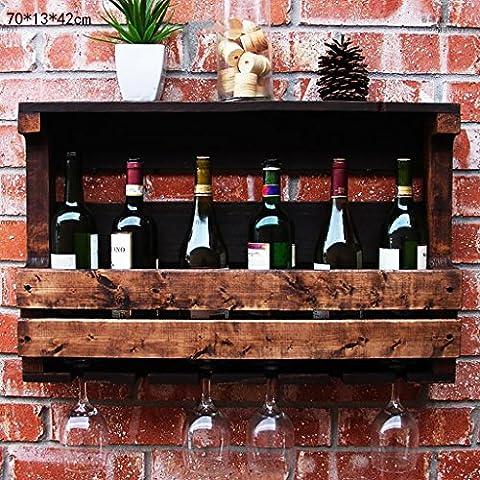 FAFZ Porte-vins Vintage Old Wall Hanging Wine Frame Porte-bière en bois massif Restaurant Bar Bar Wine Racks Wine Holders Porte-vins