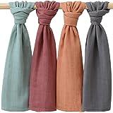 LifeTree Baby Muslin Cloths, Bambu bomull mjuka muslin fyrkanter för baby flickor eller pojkar (60 x 60 cm), 4-pack enfärgade