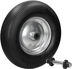 ECD Germany Schubkarrenrad aus pannensicherem Vollgummi - Reifen mit Stahlfelge - PU 4.80/4.00-8 - Durchmesser 390 mm Schwarz