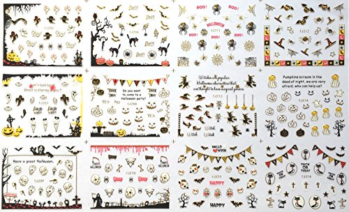 Mark Nagel Aufkleber Nagelsticker Halloween Fledermaus / Spinne / Skelett / Kürbis-Abziehbilder Goldseite (TJ205-TJ216) (Halloween 3d-nägel)