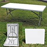 FiNeWaY@HEAVY DUTY FOLDING TABLE 6FT CAMPING PICNIC BANQUET PARTY GARDEN TABLES WHITE