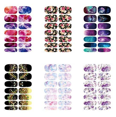 Aikesi 6 pezzi adesivi per unghie donna moda 3d adesivo decorazione per unghie decal fai da te strumenti per unghie