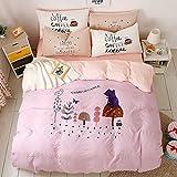 HTST Le lenzuola semplici del cotone della lettiera di modo con le coperture del cuscino ricopre la dimensione della regina, F, 200*230cm