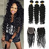 Silkylong brazilian deep curly wavy hair bundles frontal with 3 bundles lace closure human hair weave u shaped 4x4 free part 14 16 18+12