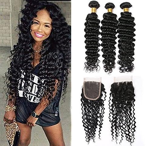 Silkylong brazilian deep curly wavy hair bundles frontal with 3