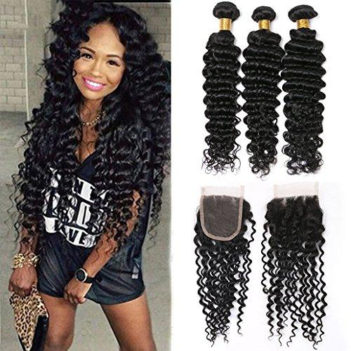 Silkylong closure hair brazilian echthaar deep wave 3 bundles with losure frontal echte haare u part baby hair 8a prime 12 14 16+10
