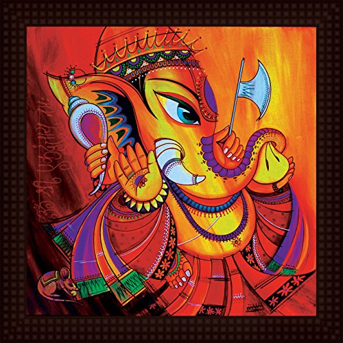 Tamatina Framed Painting - HD Quality Ganesha Framed Painting - Wooden Texture Frame - Import Quality UV Paper - Paintings for Living Room - Diwali Paintings - Paintings for Gifts - Size 12 inch x 12 inch (30x30 Cms)  available at amazon for Rs.199