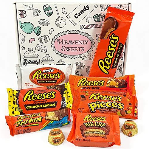 Mini coffret cadeau Reeses | Chocolat beurre de cacahuètes premium | Inclut mini barres beurre de cachuètes et noix, Reeses Big Cup, Pieces | Boîte cadeau vintage de 9 pièces