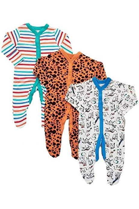 Ex Chain-store New Babygrow Poppers All in One 3X Mothercare Baby White Sleepsuit Cotton Unisex