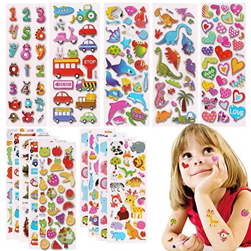 Camelize 3D Aufkleber für Kleinkinder 500 Geschwollen Stickers,20 Verschiedene Blätter,Belohnung Aufkleber für Kindergeburtstag Gastgeschenke Taschen Füller einschließlich Dinosaurier, Zahlen, Autos
