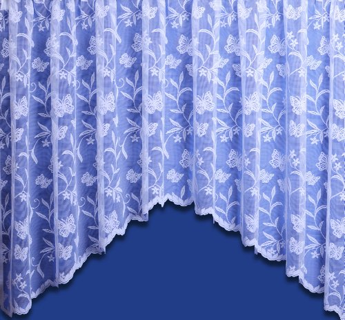 "Meadow Butterfly Jardiniere Net Curtain Finished In White With Scalloped Edge – 9 Sizes Available – Ready Made (200"" x 63"")"
