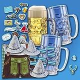Oktoberfest Partygeschirrset inkl. 3 hochwertiger Bierkrüge 0,5 l aus SAN Kunststoff
