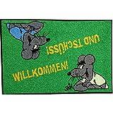 Waschbare Fußmatte ©Uli Stein - Maus - Willkommen ... und tschüss! ca 50x75cm lustiger Fußabstreifer mit Cartoon Motiv