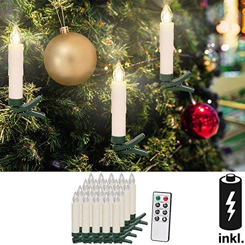 20 LED Weihnachtskerze kabellos ✔ inkl. 20 Batterien ✔ mit Fernbedienung ✔ Warmweiß ✔ Dimmfunktion Weihnachtskerzen Weihnachtsdekoration ✔ Flammenlos ✔ Timerfunktion Weihnachtsbaumbeleuchtung