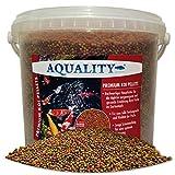 AQUALITY Premium KOI PELLETS 3 mm | 10.000 ml (Hervorragendes Fischfutter für alle Fische im Gartenteich geeignet und enthält viele wertvolle natürliche Inhaltsstoffe, Vitamine und Spurenelemente)