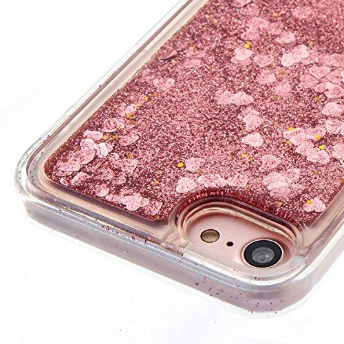 Cover iPhone 7 Custodia iphone 8 Silicone Sabbie Mobili Leton Morbido TPU Gel Liquido Fluttuante Case per Apple iPhone 7 / 8 (4.7 pollici) Ultra Sottile Flessibile Satinato Gomma Caso Anti Graffio Ant Giallo Amante Cuore
