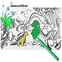 alles-meine.de GmbH zum Ausmalen - große Unterlage / Schreibtischunterlage - Dinosaurier - Dino - 48 cm * 34 cm - Tischunterlage / Knetunterlage / Bastelunterlage - bemalen anmal..
