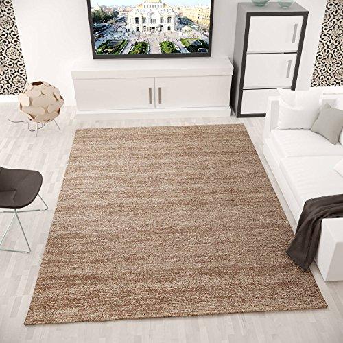 VIMODA viva6824melliert pelo corto Alfombra, tejido ecológico certificado, autenticidad de colores, Cuidado fácil, marrón, 120 x 170 cm