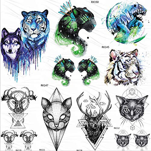 Leopard Tiger Katze Tribal Temporäre Tattoos Aufkleber Galaxy Kids Fake Tattoo Aquarell Für Männer Art Sheets 10X6Cm 7Pc ()