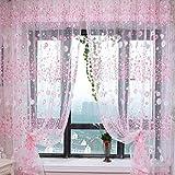 Kasit Voilage en tulle - rideau de porte/fenêtre motif fleurs roses - pour chambre à coucher, salle de bains, salon, chambre d'enfant - 1 pièce, violet