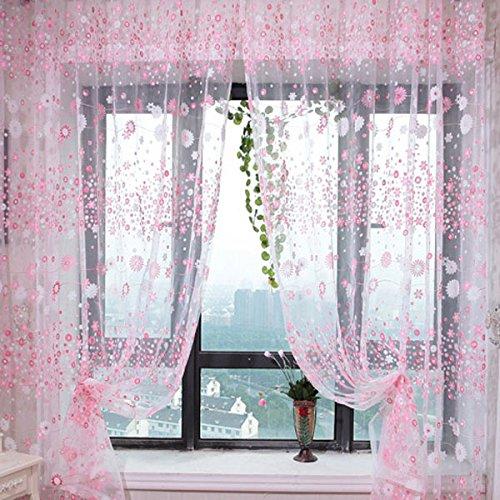 Homyl Schlaufenschal Gardinenschal Dekoschal mit Blumen Muster 200 x 100cm - Rosa, 200 x 100cm