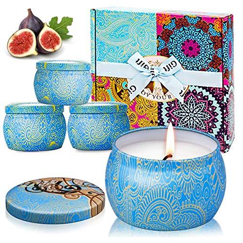 ESOLOM Citronella Candela profumate Set di 4 candele di soia naturale di cera set da regalo Anti insetti indoor e outdoor Repellente per zanzare per Yoga Anniversario Aromaterapici Matrimoni