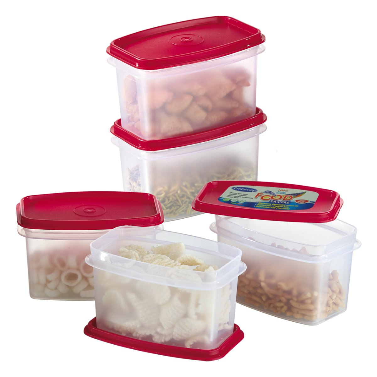 Buy Primeway Modular Kitchen Food Savers Plastic Storage Containers, 750ml,  5 Pcs Set, Red Online At Low Prices In India   Amazon.in