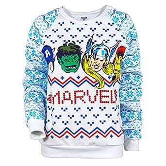 womens marvel comics christmas sweater white xl uk 14 white amazoncouk clothing