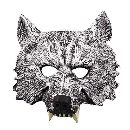 Kinder Tiger Weiße Deluxe Kostüm - Deluxe Halloween Kostüm Party Latex Tierkopf Maske AFFE, Tiger, Wolf,B
