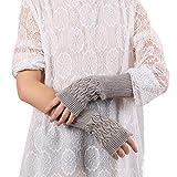 Likecrazy Weihnachten Geschenke gestrickte Handschuhe Lange Armstulpen Handschuhe Damen Accessory Trendige Handwärmer Gestrickte Fingerlose Halbhandschuhe ( Grau,one size)
