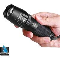 Lampe de Poche Tactique LED, Ledeak CREE XM-L2 Super Lumineux 1200 Lumens Ultra Puissante Zoomable Lampe Torche, 5 Modes d'éclairage Ajustable Militaire Étanche pour Camping Randonnée