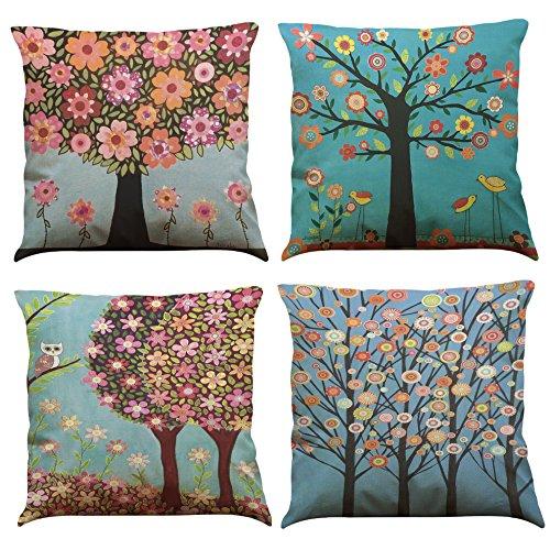 MStar 4 pieza Multicolor Árboles Impreso costura almohada 45 x 45 cm lino de algodón transpirable funda de cojín almohada