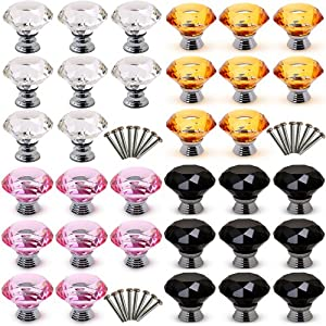 8pcs 40mm Diamond Clear/Black/Pink/Amber Crystal Glass Door Cupboard Knobs Pull Handle Drawer Kitchen Cabinet+ Screw Set by Boxcute
