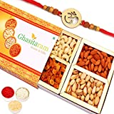 Ghasitaram Gifts Rakhi Gifts - Ghasitaram's Orange Dry Fruit Box 200 GMS with Om Rakhi